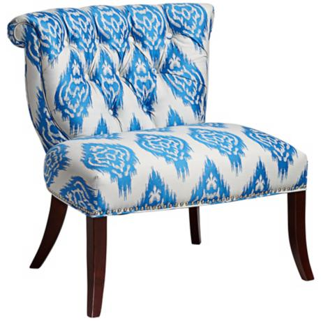 Vendela Blue and White Ikat Upholstered Accent Chair