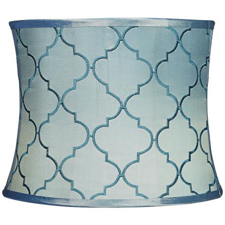 Blue Moroccan Tile Drum Shade 13x14x11 (Spider)