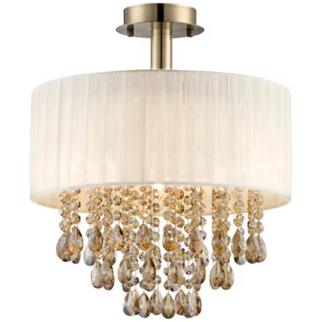 "Possini Euro Cream 18"" High Tea Crystal Ceiling Light"