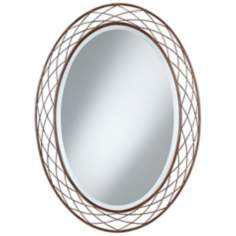 "Uttermost Basket Weave 36"" High Metal Oval Mirror"