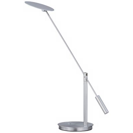 ET2 Eco-Task Satin Nickel Flat Head LED Desk Lamp