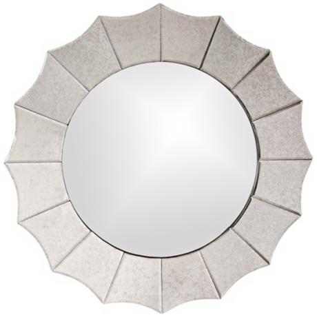 "Howard Elliott Rupal 32"" Round Scalloped Mirror"
