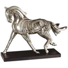 Carved Look Brushed Nickel Horse Sculpture