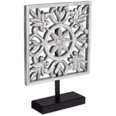 Floral Antique Silver Square Decorative Accent