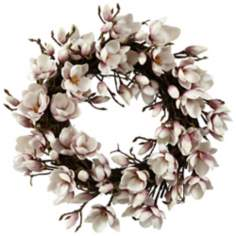 "Jane Seymour 24"" Lavender Faux Japanese Magnolia Wreath"