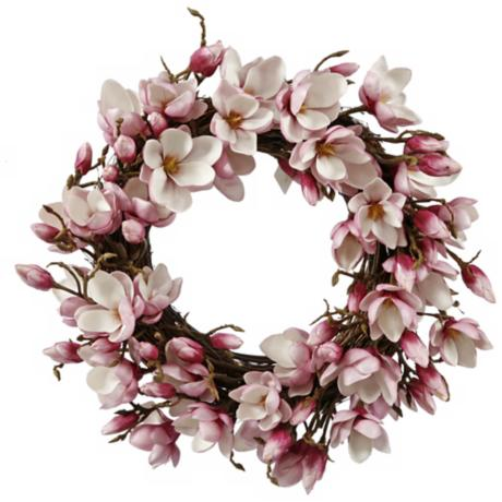 "Jane Seymour 24"" Fuchsia Faux Japanese Magnolia Wreath"