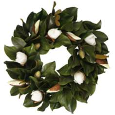 "Jane Seymour 24"" White Faux Tulip Magnolia Bud Wreath"