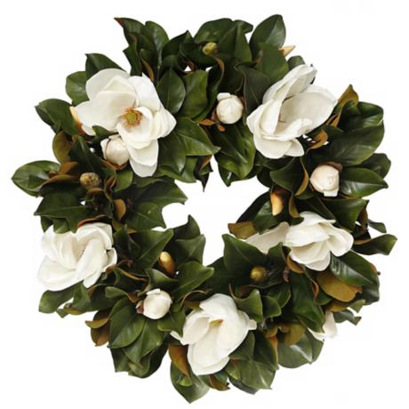 "Jane Seymour 30"" White Faux Tulip Magnolia Wreath"