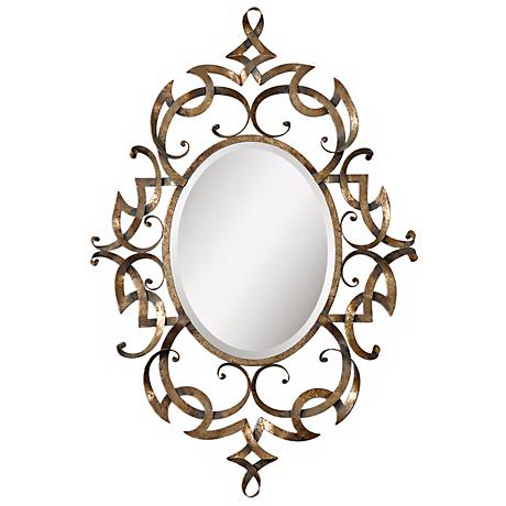 "Uttermost Ameno 45 1/2""H Hand-Forged Metal Wall Mirror"