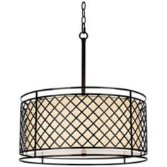 "Metal Lattice 4-Light 20 1/4"" Wide Bronze Pendant Light"