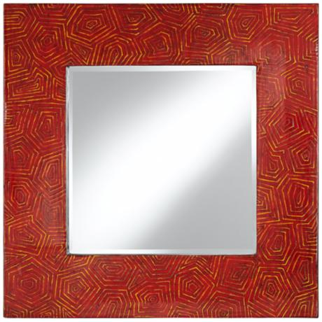 "Sonia Textured Red Lacquer 39"" Square Wall Mirror"