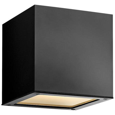 "Hinkley Kube Up-Down 6"" High Satin Black Wall Light"