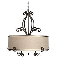 "Kathy Ireland Large Scroll 33"" Wide Bronze Pendant Light"