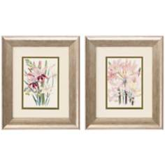 "Set of 2 Lily Flowers II/IV 13"" High Garden Wall Art Prints"