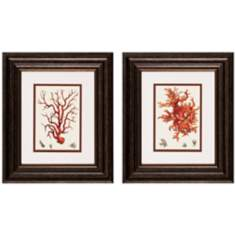 "Set of 2 14"" High Red Coral Wall Art I/III Prints"