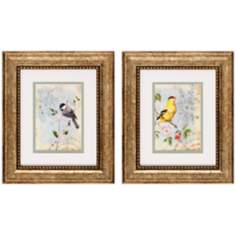 "Set of 2 Songbird II/III 13"" High Bird Wall Art Prints"
