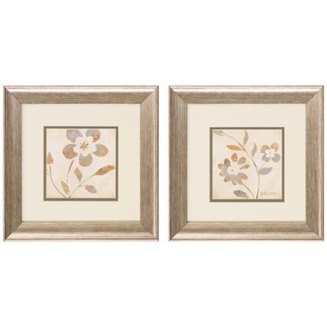 "Set of 2 Whimsical I/III 13"" Square Flower Wall Art Prints"