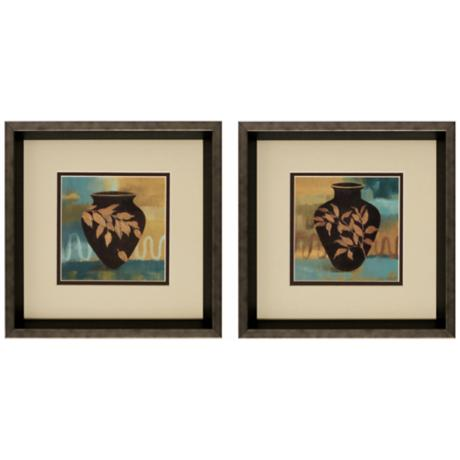 "Set of 2 12"" Square Vase and Leaf Wall Art I/II Prints"