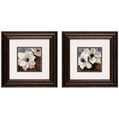 "Set of 2 Magnolias I/II 14"" Square Flower Wall Art Prints"