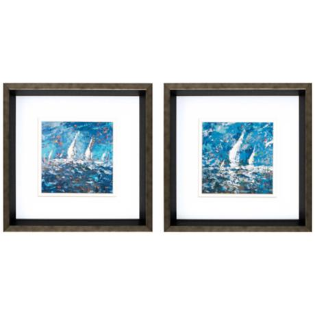 "Set of 2 Sailing I/II Framed 12"" Square Sailboat Art Prints"