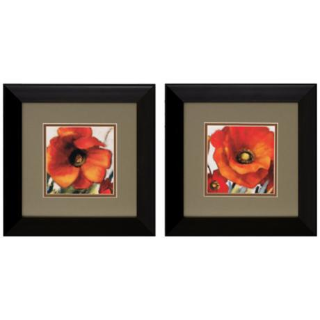Set of 2 Poppy Splendor I/II Framed Floral Wall Art