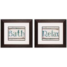 Set of 2 Bath/Relax Framed Bathroom Wall Art Prints