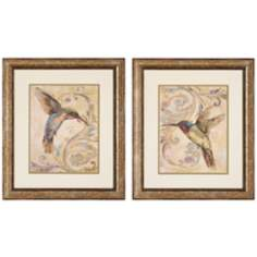 Set of 2 Hummingbird I/II Framed Bird Wall Art