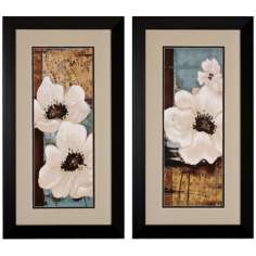 Set of 2 White Poppies I/II Framed Floral Wall Art