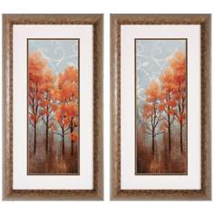 "Set of 2 Red Trees I/II 26"" High Autumn Tree Wall Art Prints"