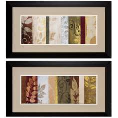 "Set of 2 Warm June I/II 27"" Wide Leaf Wall Art Prints"
