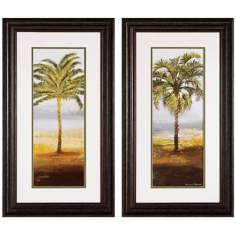 "Set of 2 Beach Palm I/II 28"" High Tree Wall Art Prints"