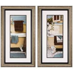 "Set of 2 Blue Bain III/IV 28"" High Bathroom Wall Art Prints"