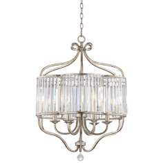 "Soft Silver 6-Light 22"" Wide Crystal Chandelier"