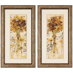 "Set of 2 Posies I/II 27"" High Floral Wall Art Prints"