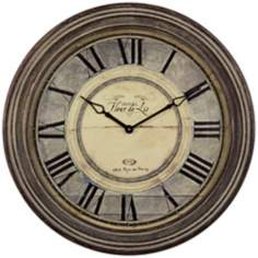 "Uttermost Hotel Fleur-de-Lis 27 1/2"" W Antiqued Wall Clock"