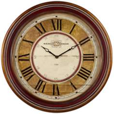 "Uttermost Samual Vernon 27 1/2"" W Wood and Gold Wall Clock"