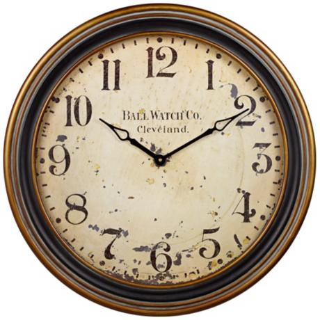 "Uttermost Ball Watch 27 1/2"" Wide Distressed Wall Clock"