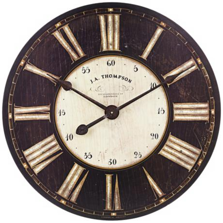 "Uttemost J.A. Thompson 29 1/4"" Wide Antique Black Wall Clock"