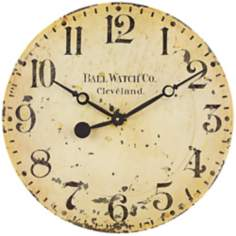 "Uttermost Ball Watch 18"" Wide Distressed Gold Wall Clock"