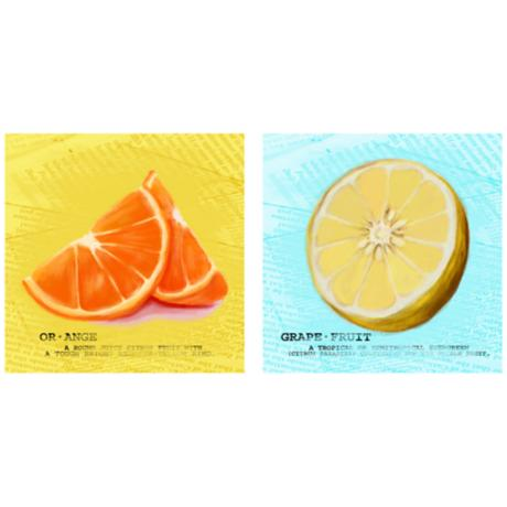 "Set of 2 Zesty Citrus 12"" Square Kitchen Art Prints"