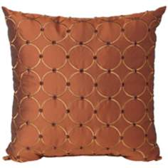"Caprica Sienna 18"" Square Designer Throw Pillow"