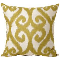 "Patola Print 22"" Square Green and Ivory Throw Pillow"