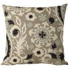 "Fergana Fog 18"" Square Designer Throw Pillow"