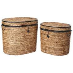 Set of 2 Metal Rattan Oval Trunks With Trim