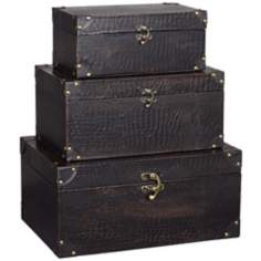 Set of 3 Leather Brown Trunks With Metal Hardware