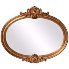 "Howard Elliott Piedmont 40"" Wide Gold Oval Wall Mirror"