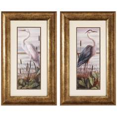 Set of 2 Gold Frame Heron and Egret Bird Wall Art Prints