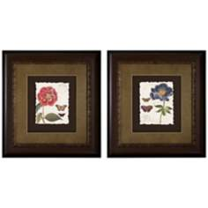 Set of 2 Framed Red and Blue Floral Wall Art Prints I/III