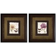 Set of 2 Framed Cream Violet Floral Wall Art Prints I/III