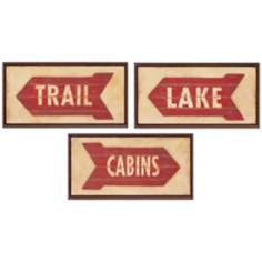 Set of 3 Trail Cabin and Lake Rustic Wall Art Signs